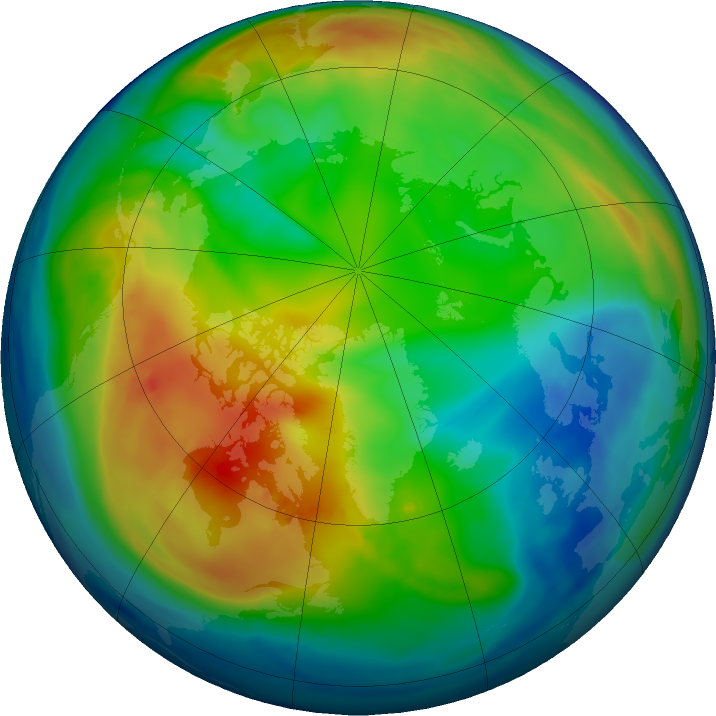 Arctic ozone map for 08 December 2016